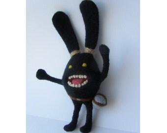 Final Fantasy XIV inspired spriggan creepy black dust bunny needle felted plush crazy rabbit fairy creature cute kawaii ffxv strange gift