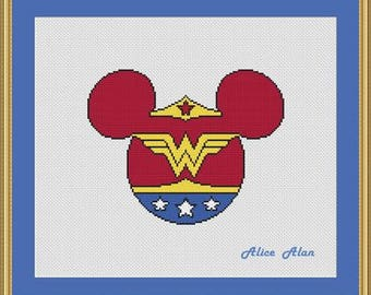 Cross Stitch Pattern Silhouette Wonder Woman Minnie Mickey Mouse superhero Counted Cross Stitch Pattern/Instant Download Epattern PDF File