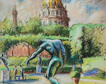 "View of ""Les Invalides"" from the gardens of the Rodin Museum, Paris France"