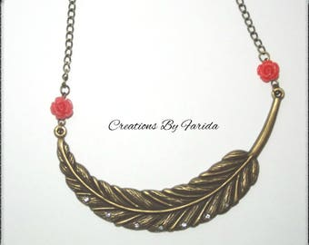 Feather necklace bronze color with Rhinestone silver and pink resin Orange