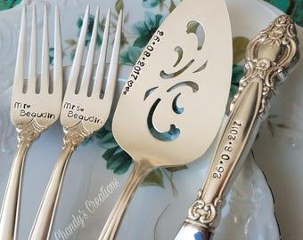 Wedding Cake Forks, Server, Empress, Wedding Props, Custom Stamped Fork, Bride and Groom Gift,Wedding Accessories,Personalized, Matching Set