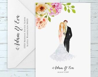 Watercolor Floral Wedding Invitation Set w/ Custom Watercolor Portrait - (Elegant, Romantic, Rustic, Boho Wedding Suite w/ Custom Portrait)
