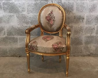 French furniture French Chairs Louis XVI Amr Chair Rococo Furniture Baroque French Gold Leaf *1 Available* Antique Furniture
