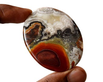 Crazy Lace Agate Large 126 Cts Natural Gemstone Cabochon Oval Shape Agate 52x41x7 MM R14854
