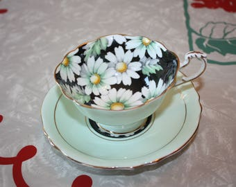 Beautiful Vintage Paragon Mint Green Teacup and Saucer, White Flower
