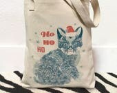 Christmas cat, Christmas tote bags, Cat Christmas gift bag, Cat Christmas gifts, Cat tote, Santa cat, Cat bag, Cute cat gifts, holiday cat