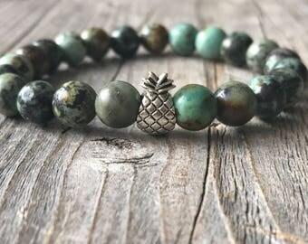 Gemstone Pineapple bracelet, woman beaded bracelet, Bohemian bracelet, stretch stacking bracelet, Pinelapple boho  jewelery, Woman gift idea