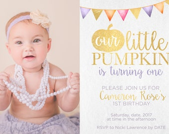 Our Little Pumpkin Is Turning One / Baby's First Birthday / Fall Baby / Fall Birthday / Gold / Bunting Banner / Purple