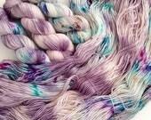 Witches of Edinburgh set of 3 skeins. Hand Dyed Speckled 3-skein fade yarn set.Super Soft luxury 100% Extrafine Merino. fingering weight.