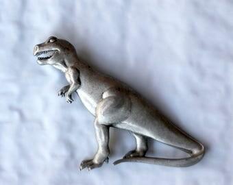 Vintage 1986 JJ Jonette Genuine Pre Historic Pewter Dinosaur Brooch Pin