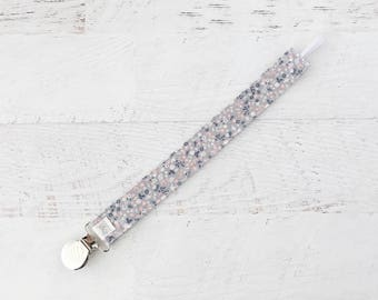 Pacifier Clip-Grey Floral-Flowers-Soother Clip- Paci Clip- Binky Clip