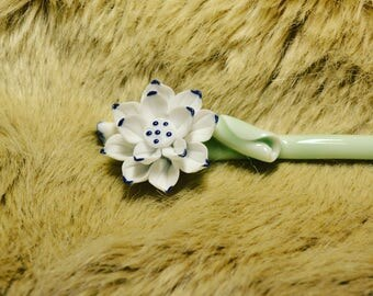 Lotus Flower hair stick chinese hair stick bun maker hand painted porcelain hair stick blue and white flower hair maker crystal hair