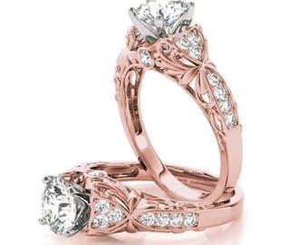 Forever Brilliant Moissanite Filigree Floral Diamond Engagement Ring in Rose Gold