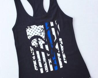 Thin Blue Line Tank Top / Law Enforcement Shirt / LEO Shirt / Police / Tank Top / Flag Shirt / Heart shirt / Women's Tank Top