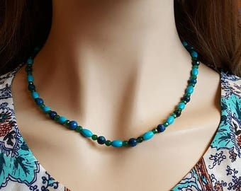 CLEARANCE Blue Green Beaded Necklace. Multi Stone Beaded Necklace. Black Friday Sale. Cyber Monday.