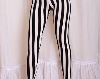 Striped Beetlejuice Leggings. Black and White Vertical Stripe Yoga Pants. High Waisted leggings.