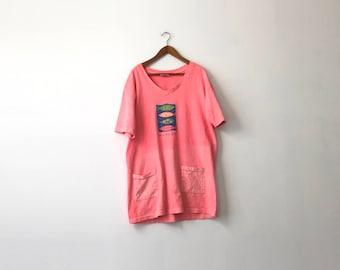 Neon 90s Baggy Beach Pocket Shirt - One Size