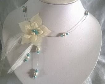 wedding bride ornament holiday evening ceremony 3 piece ivory pearls / turquoise silk flower feather jewelry set