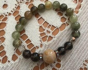 Green Garnet, Yellow Jade and Smoky Quartz Beaded Bracelet, Green Garnet, Luck, Confidence, Love, Protection, Serenity, Mala Bracelet