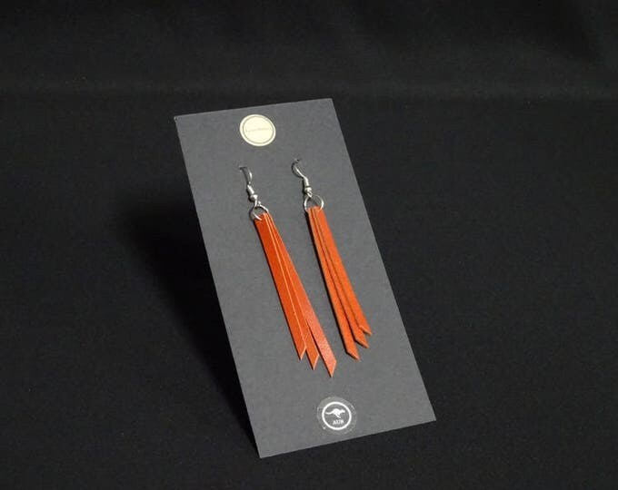Triple Earring - Tan - Handmade in Australia using genuine Australian kangaroo leather.