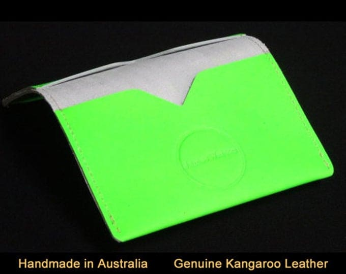 Bantam Wallet - Holds 12 cards and cash - Green Fluoro - Mens Womens Custom Strong Slim Card Sleeve Wallet RFID Credit Card Chip Protection