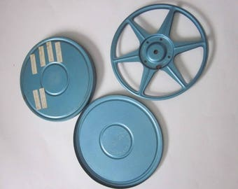 Vintage 8mm Film Reel & Case, Blue Vintage Film Reel w/Case, Small Vintage Metal Film Reel and Case