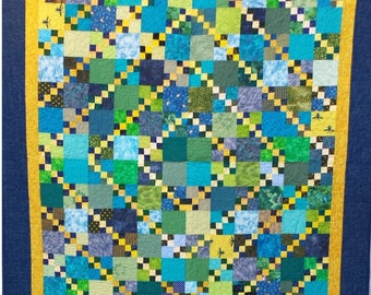 Handmade Quilt in Blue and Green