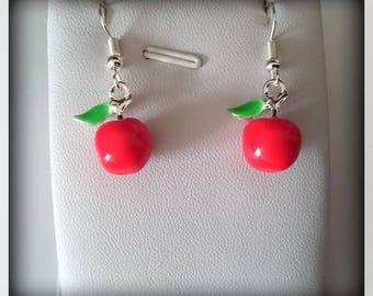 Earrings enameled red apples