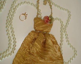 Lavender Sachet, Handmade, Dress Sachet, Gold Dress