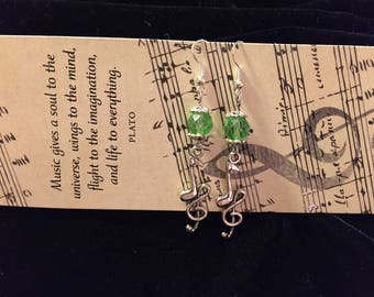 Musical Charm Earrings, Green Crystal Beads, Music Note and Treble Clef Charm, Music Lovers Gift