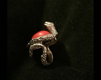 Snake ring, mother protecting eggs, unique! red carnelian cabochon stone, gift, Christmas gift