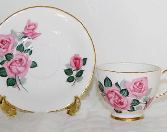 Delphine Pink Roses Teacup and Saucer English Sweetheart Roses Teacup and Saucer
