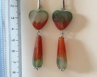 Gemstone earrings, agate striata