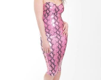 Black & Pink Snake Skin Sweet Heart Bandeau Dress
