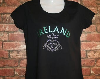 "Green ""Ireland"" Text with Rhinestone Claddagh Design T Shirt"