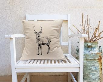 Deer Decorative Pillow, Deer Square Pillow, Farmhouse Decor, Stag Throw Pillow, Natural Canvas Pillow, Square Cushion, Bedroom Decor