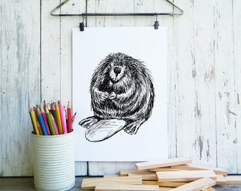 Beaver Printable, Cute Beaver Poster, Kids Room Decor, Nursery Decor, Cute Animals, Woodland Nursery, Gift For Kids, Nursery Wall Art