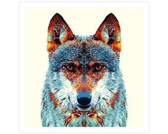 Wolf Art Print - Colorful Animals. Wall Art, Animal Portrait, Wild Prints, Photography Art, Blue Illustration, Decoration Gift, Home Decor