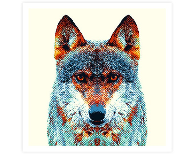 Wolf Art Print - Colorful Animals