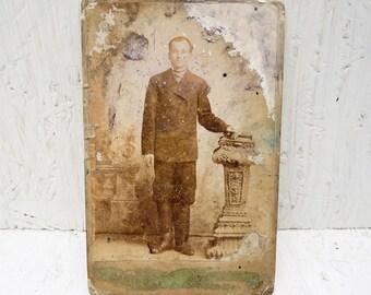 Antique photo XIX century Old photo portrait man Cabinet card