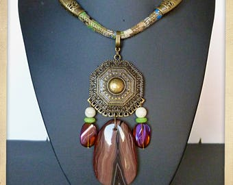 "Bib necklace style ethnic ""SORGHUM"", cotton woven, bronze metal pendant, AGATE, tassels, glass beads"