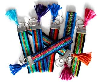 Peruvian Wristlet Strap, small key fob, Keychain, tribal fabric keychain, key chain Wristlet, teenage gift, Short Lanyard, tassel keychain