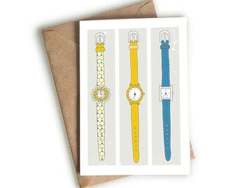 Funky  Wrist Watches Card - Time - Quirky Card - Hand-drawn - Illustrated & Hand-drawn Stationery - Made in UK - Blank Card