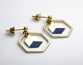 Midnight blue and gold Hexagon earrings