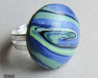 Purple and green polymer clay rings (#0060 and #0062)