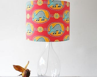 Red and teal African aardvark handmade stand lampshade