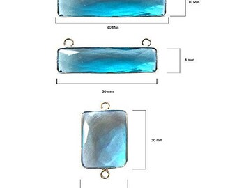 BLUE TOPAZ RECTANGLE 10X40 mm silver double q