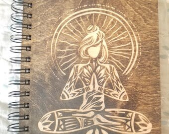 Yoga Inspired Etched Wooden Notebook