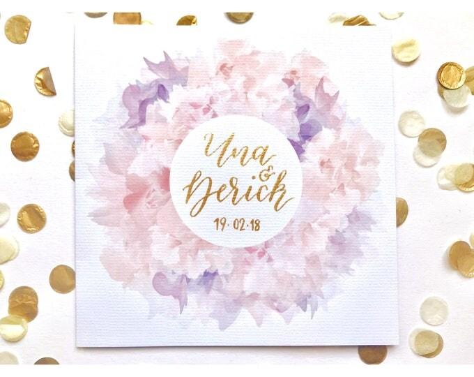 Featured listing image: Wedding card, personalised, blush, gold, calligraphy, typography, floral, handmade