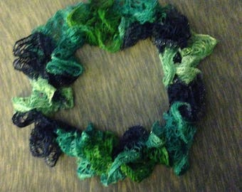 Handmade Crochet Scarf- Multicolor blue green